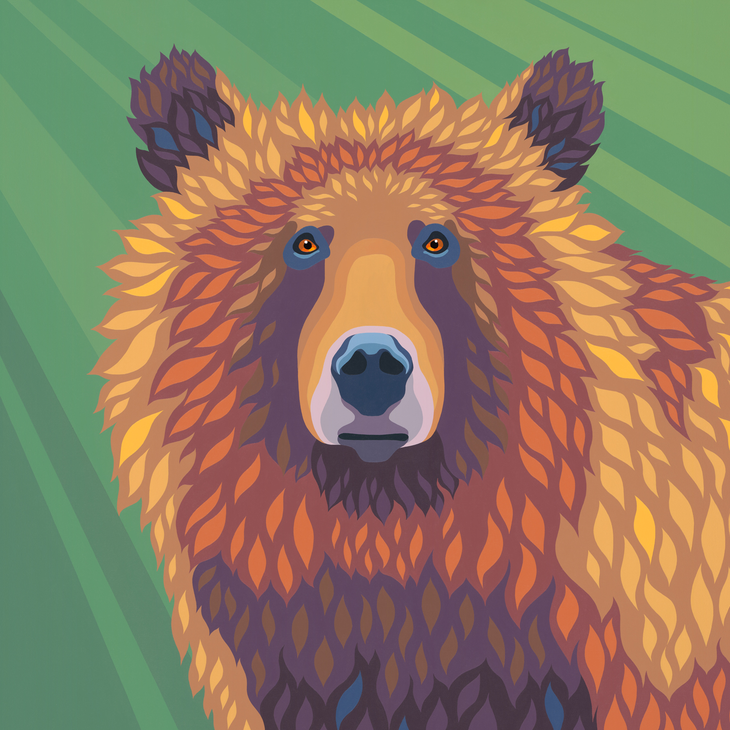 """'Golden Grizzly' - Di - 2018 - 36""""x36"""" - (sold)"""