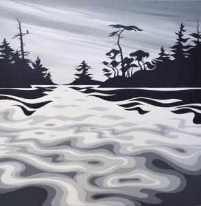 "'Popham Island' - Di - 2018 - 16""x16"" - Acrylic on canvas - $550 + tax"