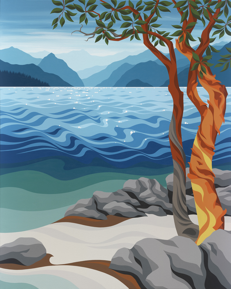 Ragged Rock, Vancouver, Horseshoe Bay, Sea to Sky, Howe Sound, Bowen Island, British Columbia, Squamish, Whistler, Arbutus Tree, Madrone, Islands, Ocean, Sea, Beach, West Coast, Art, Artwork, Painting, Art By Di