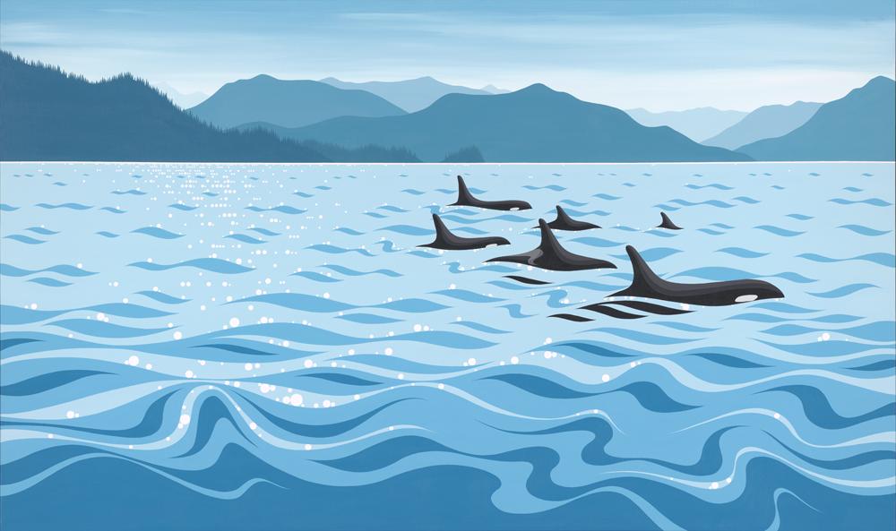 Howe Sound, Bowen Island, West Coast, West Coast Art, Islands, British Columbia, Ocean, Sea, Art, Blue, Painting, Acrylic on canvas, orca, orcas, whales, killer whale, blue