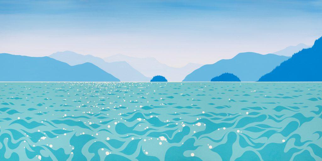 Howe Sound, Bowen Island, West Coast, West Coast Art, Islands, British Columbia, Ocean, Sea, Art, Blue, Painting, Acrylic on canvas