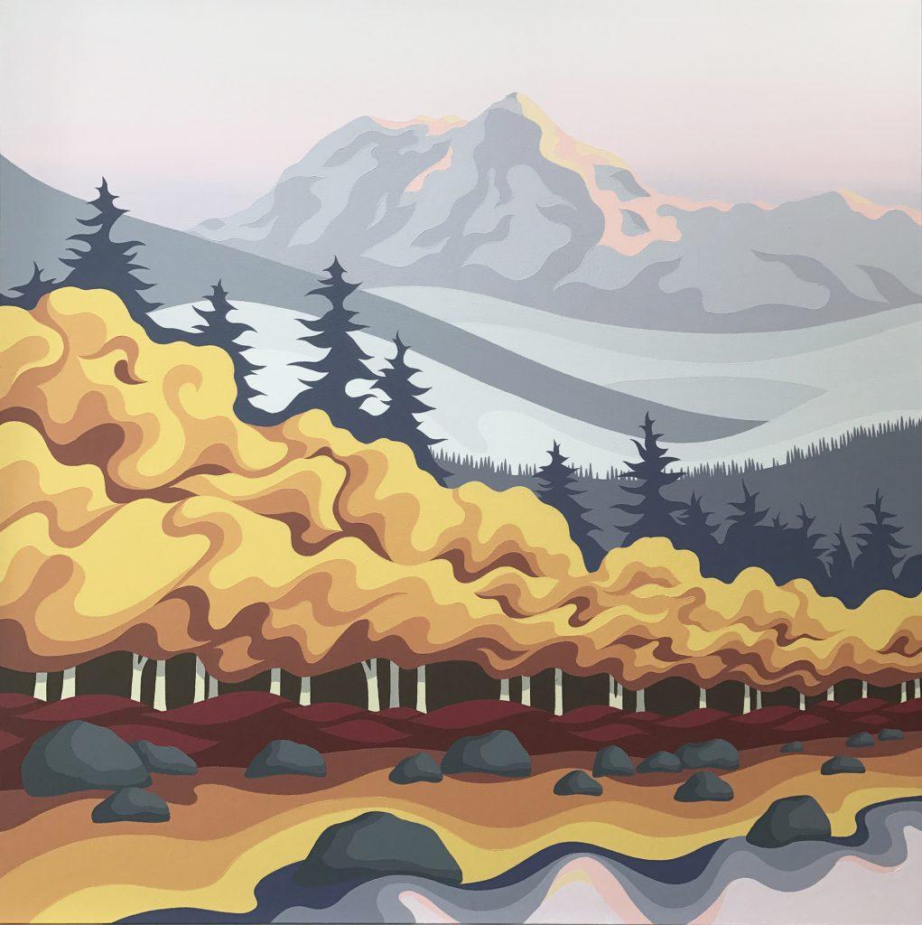 Howe Sound, Squamish, Whistler, West Coast, West Coast Art, British Columbia, Trees, Mountains, Art, Sunrise, Painting, Acrylic on canvas